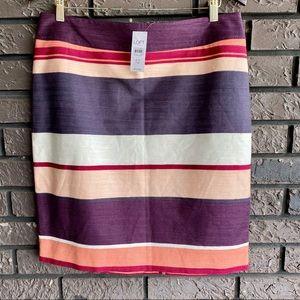 NWT Loft Striped Skirt Sz 12